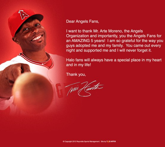 Torii Hunter's farewell to the Angels