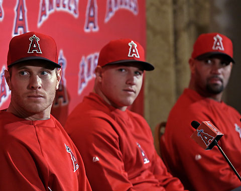 Albert Pujols, Josh Hamilton and Mike Trout speak to the media at Angels Spring Training. (Photograph Credit: Major League Baseball, http://www.Angels.com)