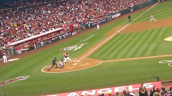 Albert Pujols in his batting stance at Home Plate.